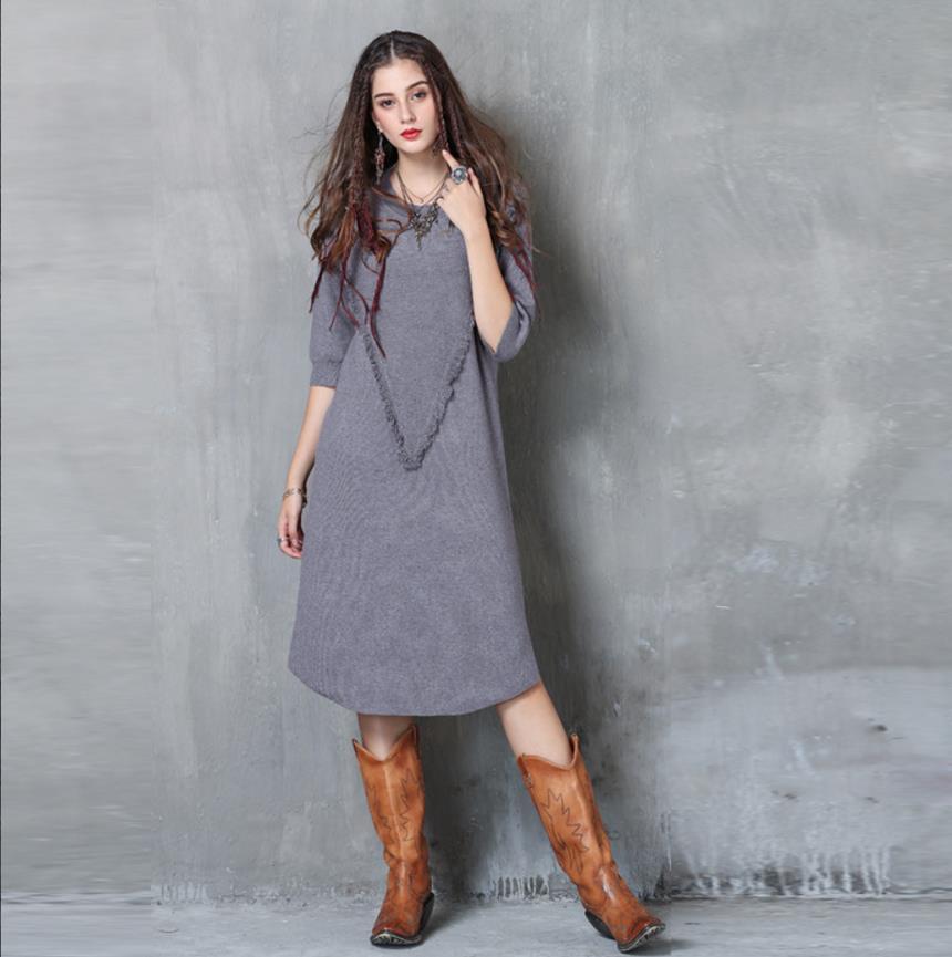 Triko Elbise Kadınlar Tasarım Seksi İnce Fit Kadınlar Uzun Örme Triko elbiseler Ç Boyun Yarım Kol Big V Harf Püskül Ücretsiz Gemi Moda