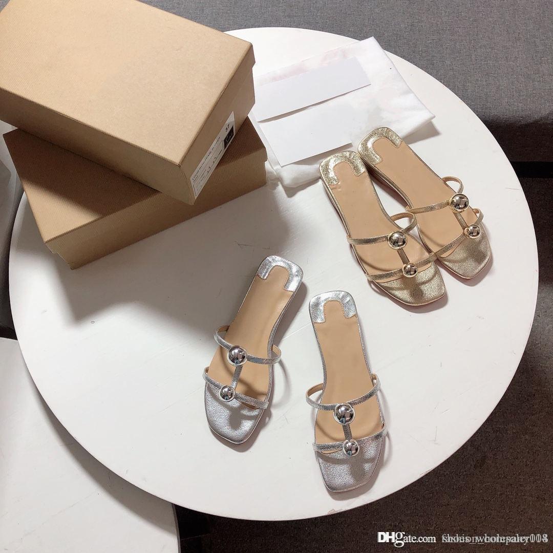 Klassische Frühling und Sommer-Serie von Metallkugel Pantoffeln mit gebrochenem Schaffell Oberfläche und italienischer Sohle, Frauen Pantoffel, mit Kasten