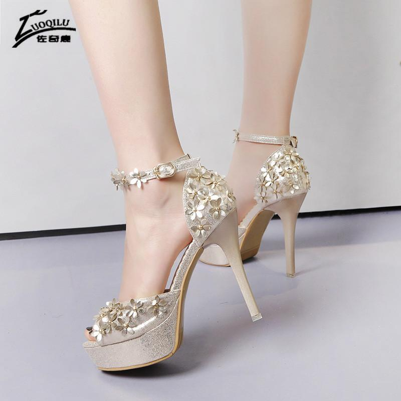 sexy high heels open toes platform heels shoes woman Flower Gold Sliver Wedding Shoes ankle strap pumps bridal 2019