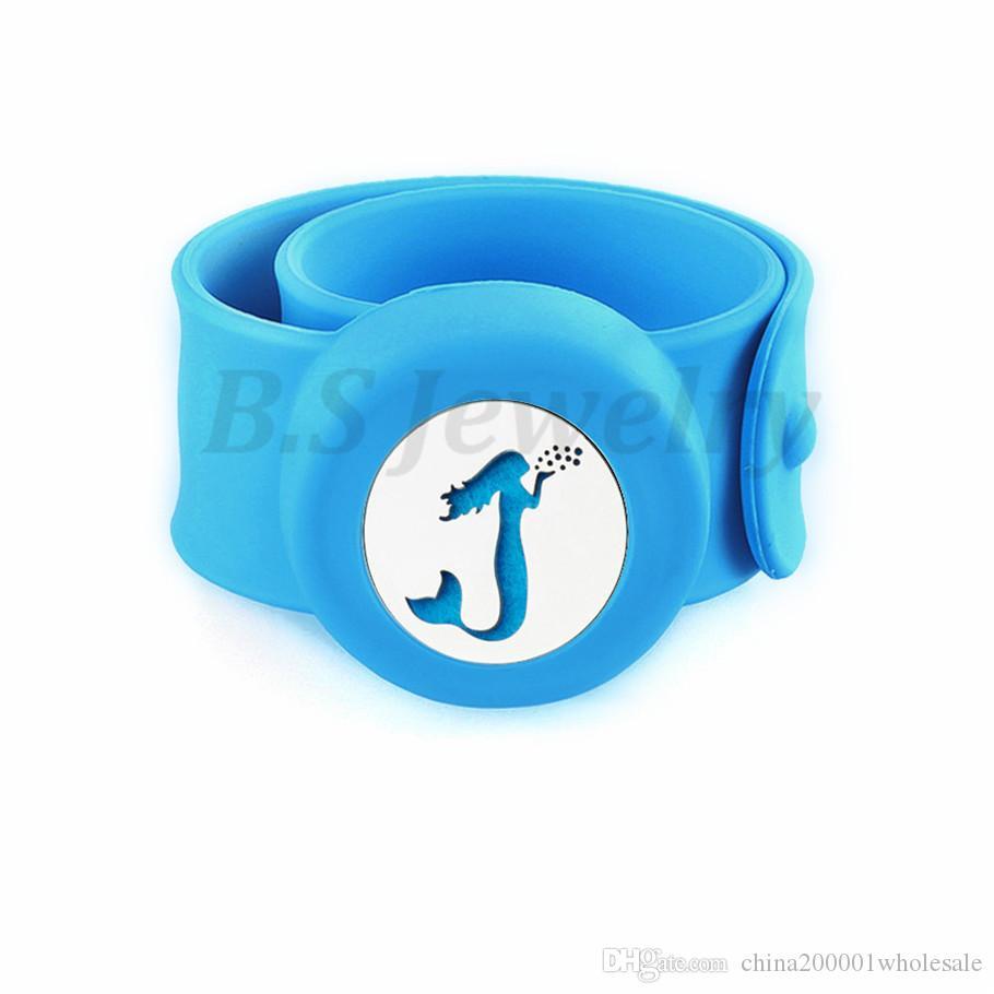 mermaid Charm Bracelet Kid Jewelry Silicone Slap Bracelets Essential Oils Diffuser Wristband Anti-Mosquito Bracelets & Bangles For Kids