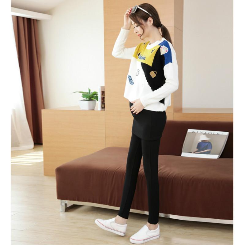 Maternity pants velvet leggings pregnant women wear thickened pantskirt care for the abdomen add wool