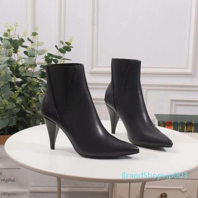 Neuer Frauen-Absatz mit ursprünglicher Gewohnheit voller einzigartiger Trends, wilde Modelle kurzer Stiefel Leder Frau Schuhen Damen Mode N720