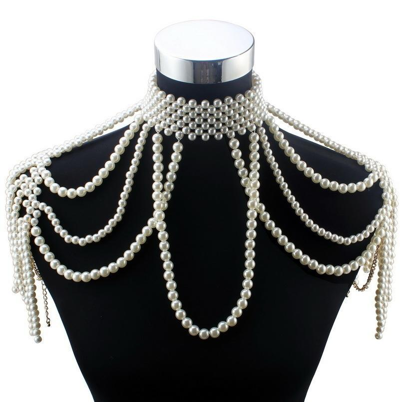 Florosy Long Bead Chain Chunky Simulated Pearl Necklace Body Jewelry For Women Costume Choker Pendant Statement Necklace New J190610