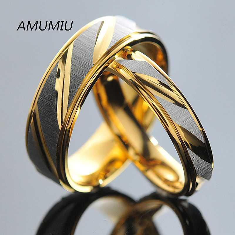 Aço inoxidável AMUMIU anéis casais para as bandas de casamento das mulheres dos homens de ouro de noivado amantes aniversário dele e dela prometer KR005