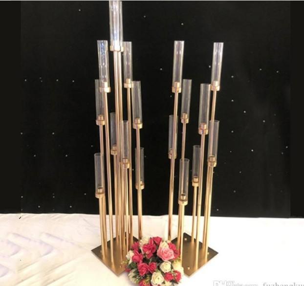 10pcs Metal Mumluklar Mum Çiçek Vazo Düğün Masa Centrepiece Mumluk Pillar Yol Partisi Dekorasyon Kurşun Standı