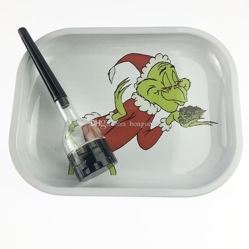 rotolo di metallo laminato vassoio per la pipe carte Tabacco bagagli 18 * 14cm Vassoio fumatori Rig strumento Grinders Oil Dabber