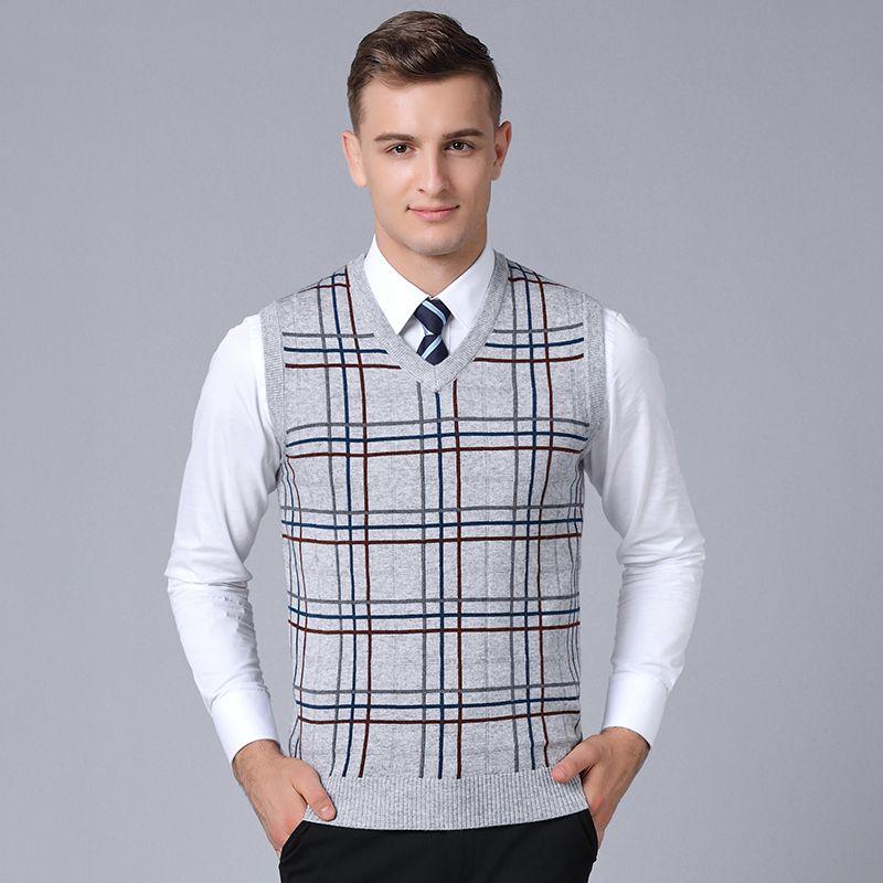 2019 Nueva marca de moda suéter para hombre sin mangas Slim Fit Puentes de tejer la tela escocesa del otoño caliente coreana del estilo casual para hombre ropa Y191214