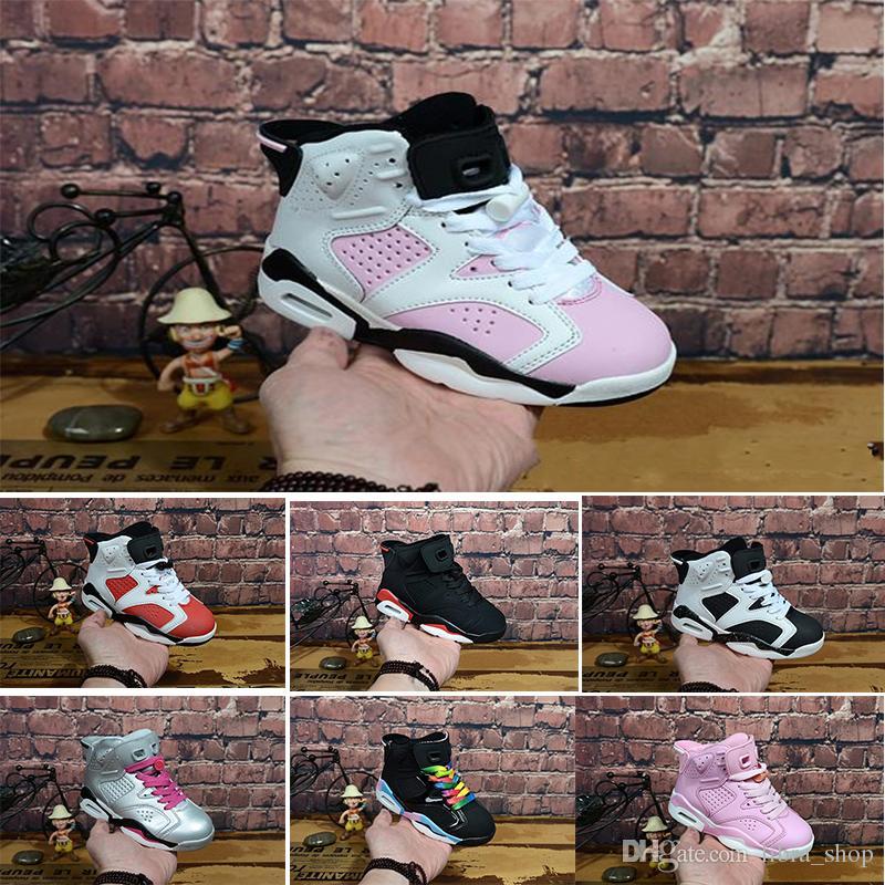 Nike air max jordan 6 retro Ücretsiz kargo 2018 çocuk Klasik 6 s UNC siyah mavi beyaz kızılötesi düşük krom Basketbol Ayakkabı 6 carmine Oreo siyah kedi Çocuklar Boyutu 28-35