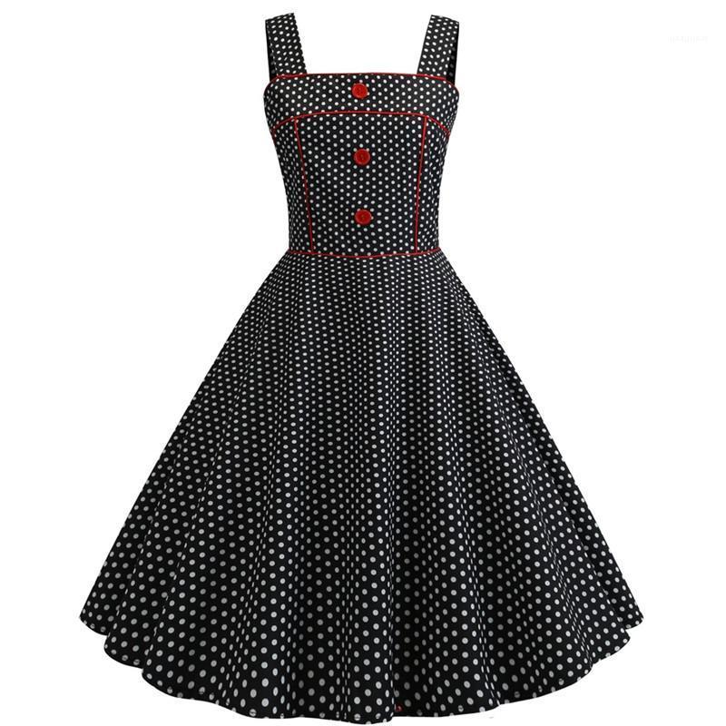 Полька Dot Печать Щитовые Для женщин Дизайнерские платья вскользь Женщины Zipper Кнопка одежды площади шеи женщин Винтажная платья моды