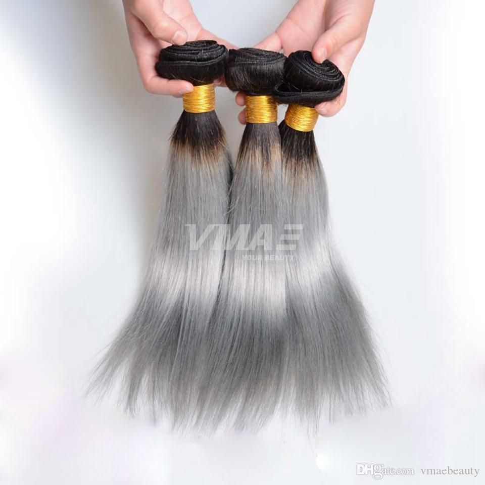 Brazilian Human Straight grey Hair 3pcs/lot Ombre 1b/gray VMAE Hair Weaves Brazilian Virgin Silver Gray Human Hair Extensions