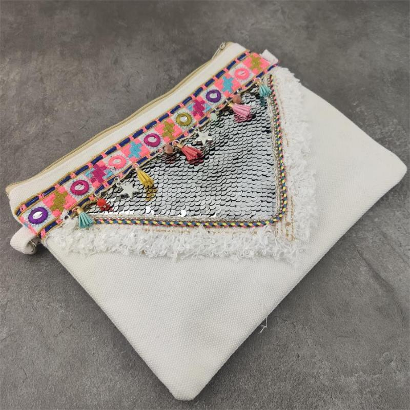 Boho Cloth Bag Straw Beach Bag Women Ethnic Shoulder With Colorful Strap Crossbody Bags For Women