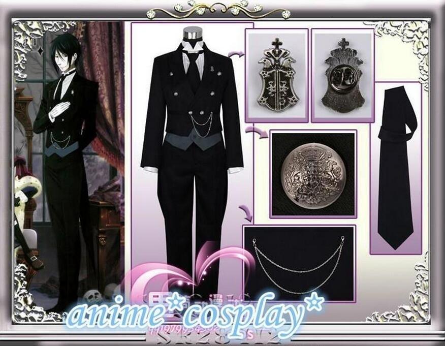 Black Butler 2 Kuroshitsuji Sebastian Michaelis Cosplay Costume Unisex UniformMX190923