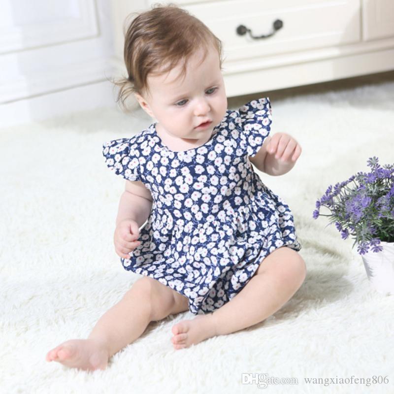 Neonati Bambini Baby Girl Flower Pagliaccetto Tute Outfit Bambino Ragazze Principessa del bambino Vestiti Estate Pagliaccetti senza maniche Playsuit Top
