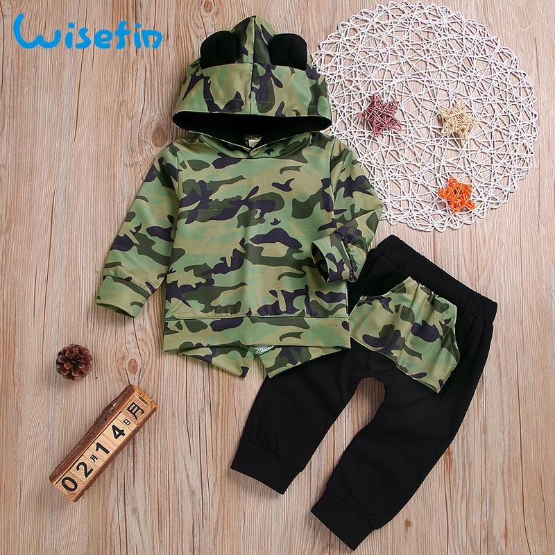 Boys 2 Pieces Set Long Sleeve Tops Camouflage Pants Outfits Boys Clothes Set