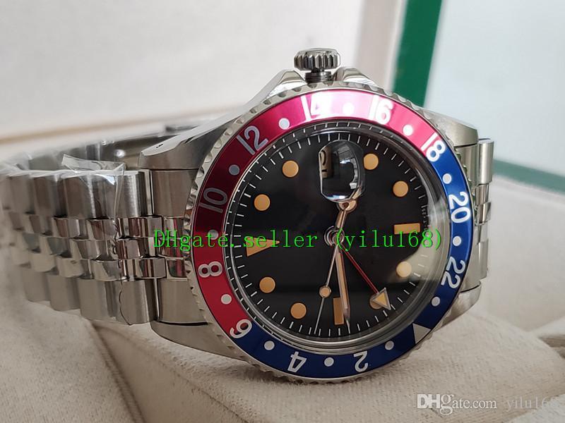 2021 роскошные высококачественные часы BP Factory 40 мм Vintage GMT синий и красный граница черный циферблат 1675 механические автоматические мужские часы