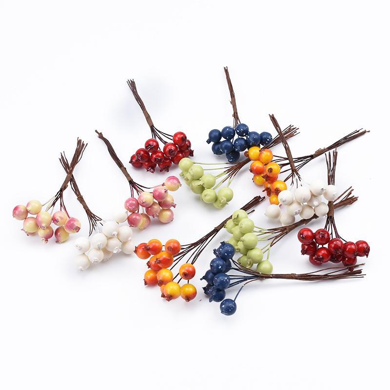 120pcs PE Вишневого фрукты искусственных растения DIY подарки коробки рождественских украшений для дома скрапбукинг декоративных цветов венков