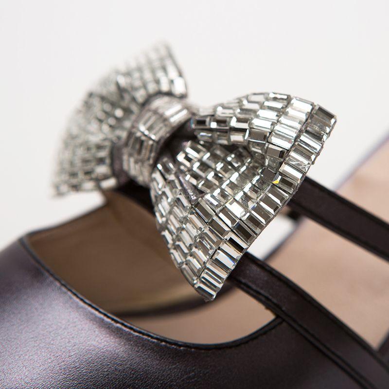 Hot Sale-Rhinestone Bowtie Bridal Wedding Shoes Women's Summer Shoes Fashion Kitten Heels Sandals Woman Pointed Toe Bridesmaid Shoes
