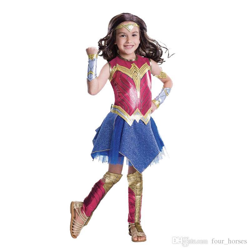 Cadılar Bayramı rol oynayan Fantasia Parti Cosplay Bodysuit Superman Kostümler çocuk superher kostüm için Wonder Woman Kostüm