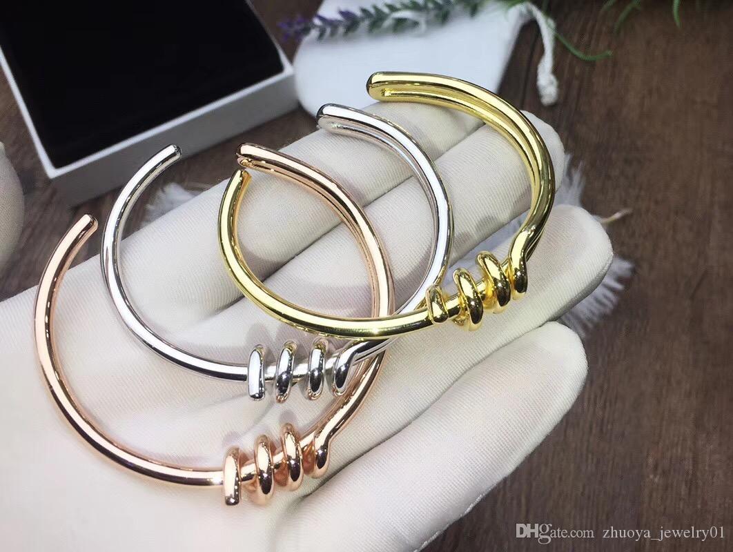 2020 new rope knot bracelet silver rose gold stainless steel jewelry men and women bracelet punk style friendship bracelet steel wire bangle