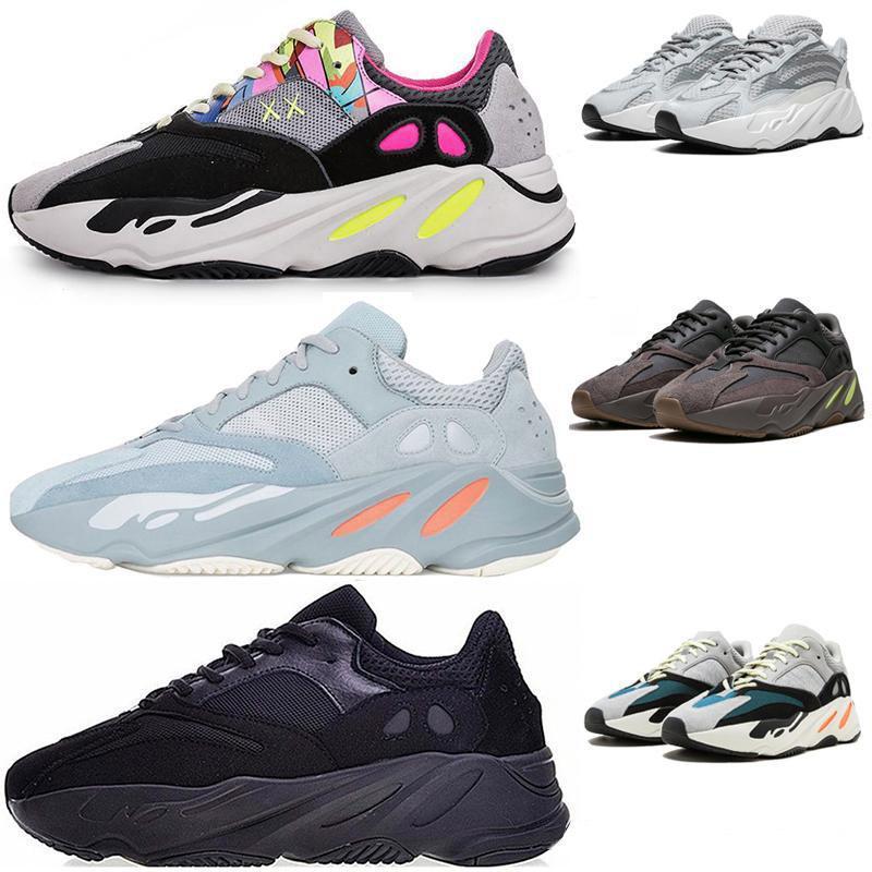 Onda Runner 700 Kanye West brilham no escuro linha reflexiva 2017 novo tamanho Tênis de corrida 36-46 moda sandálias dos homens de luxo mulheres de designer sapatos