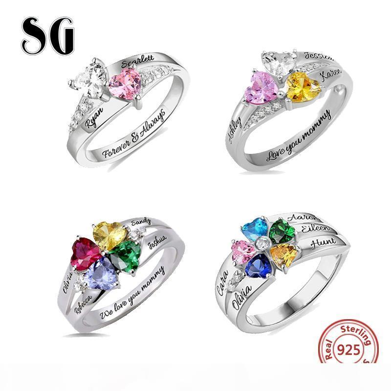 SG personalizados 925 anillos de plata de encargo del Birthstone anillo con 2-5 Nombres joyería para las mujeres Regalo día de la madre