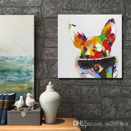 HandPainted Cool Animal color dog with glass Art Painting Modern Abstract Oil Painting On Canvas Decoration for Room Home DecoA128