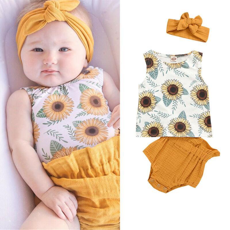 Recém-nascido do bebé Roupa Define mangas Vest Top Shorts PP Pants girassol do verão 3Pc Outfit