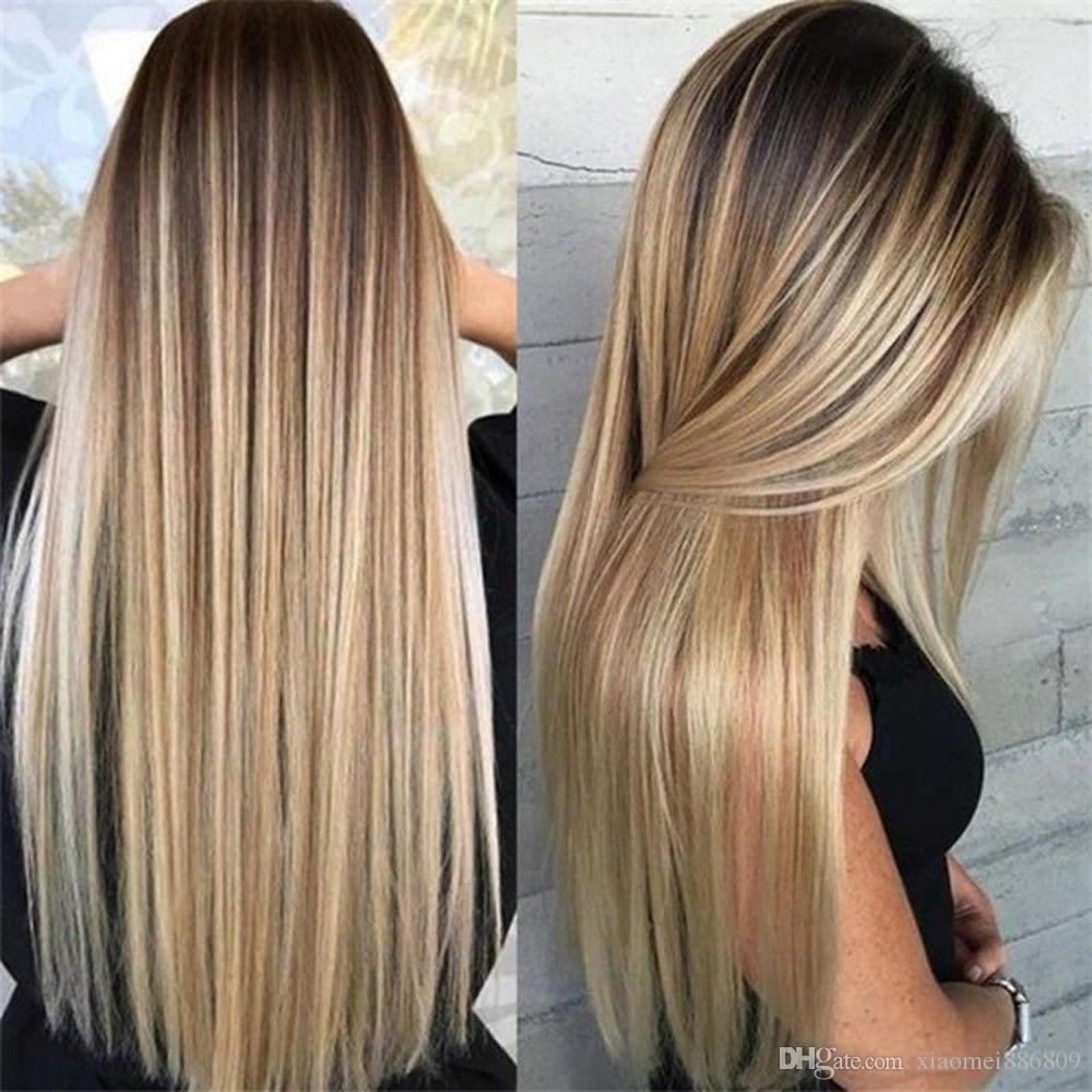 Yeni Sentetik Uzun Düz Saç Ombre Sarışın Peruk Isıya Dayanıklı Kadınlar Için Tam Peruk Ücretsiz Kargo
