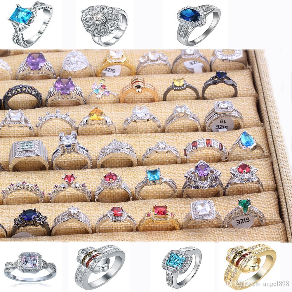 Fábrica de vendas preço de Apuramento Styles multi 925 homens e mulheres de prata esterlina anéis Tamanho 6,7,8,9 Mixed10pcs / lot