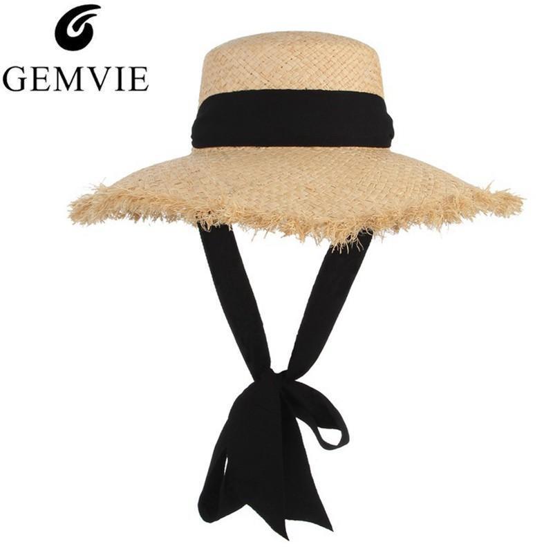 Gemvie Handmade Weave Bast Sun Für Frauen Schwarzes Band Floppy Brim Large Fields Strohhut Sommer Strandkappe Fedora New C19041701