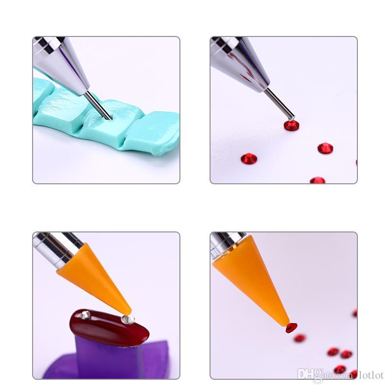 1 pc Dual-ending Nail Dotting Pen Cristal Perles Poignée Strass Goujons Cire Cire Crayon Manucure Paillettes Poudre Nail Art Outils