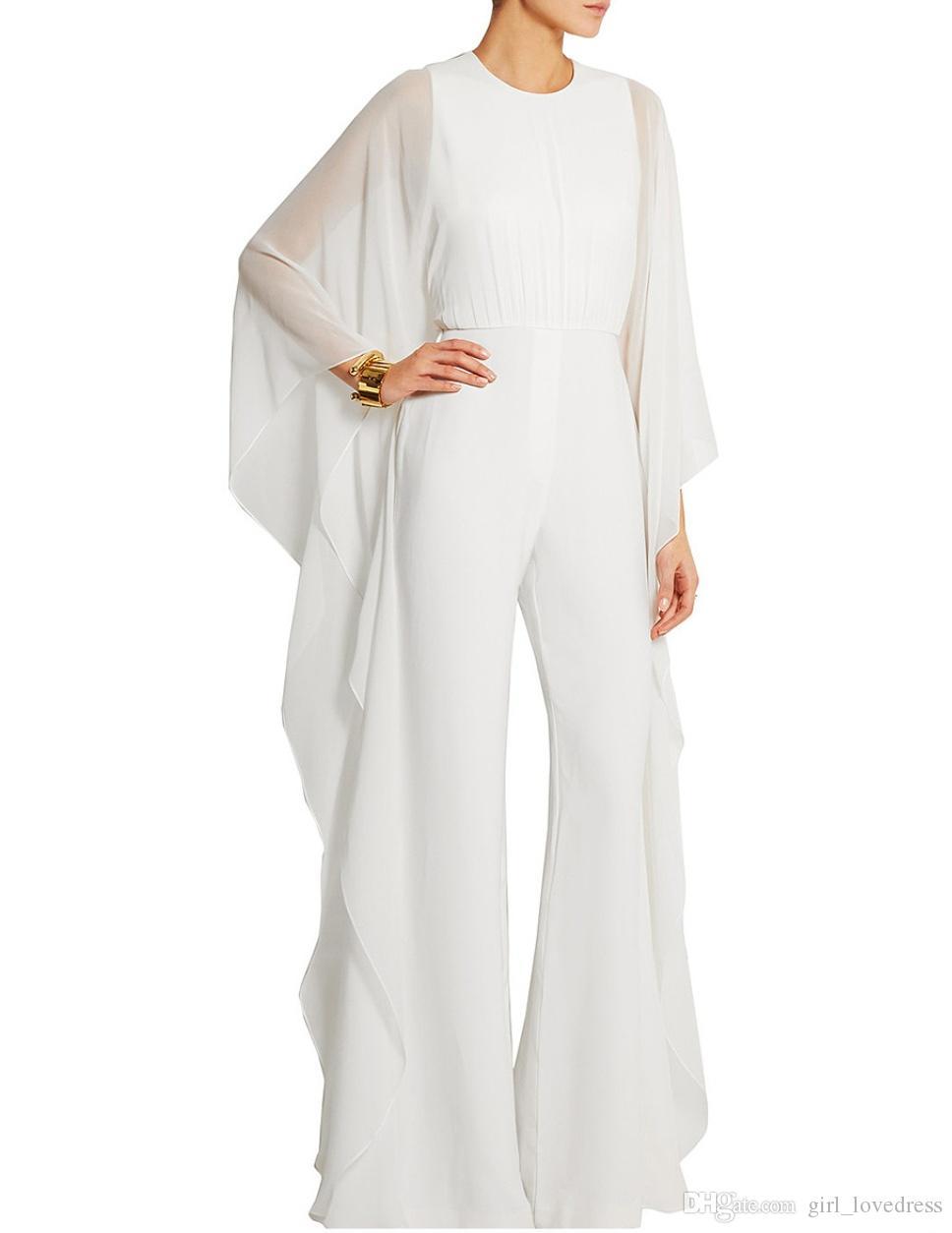 O-Collo delle donne eleganti Tuta bianca lunga maniche lunghe abiti da sera con Ruffles Robe De Soiree Pantaloni abiti da ballo Custom Made