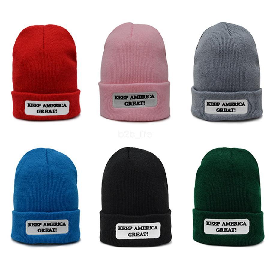 ترامب الصوفية محبوك قبعة النساء الرجال للجنسين إلكتروني طباعة إبقاء أمريكا العظمى قبعة متماسكة قبعة الشتاء قبعة دافئة LJJA2669