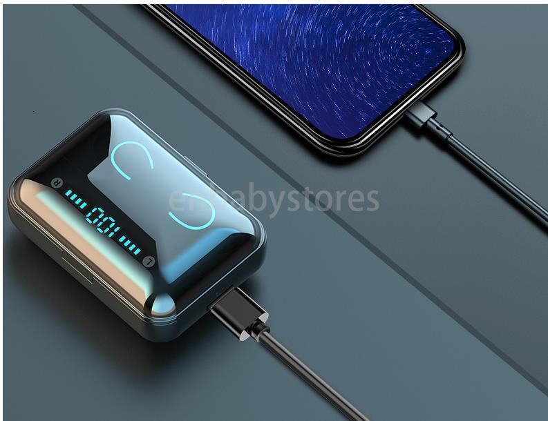 F9 F9-5 kablosuz Tws Kulaklık Bluetooth v5. 0 Mini akıllı dokunmatik Kulakiçi 1200 mAh güç Bankası kulaklık ve Mic ile LED ekran GLHF