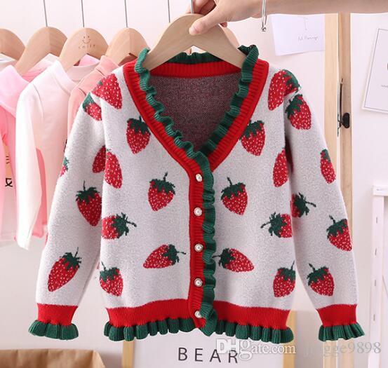 Herbst und Winter 2019 New Kids'Dress koreanische Ausgabe Girls' Big Strawberry Jacquard-Knopf open-top-Kinder schnüren Kern-gesponnenes Garn Pullover