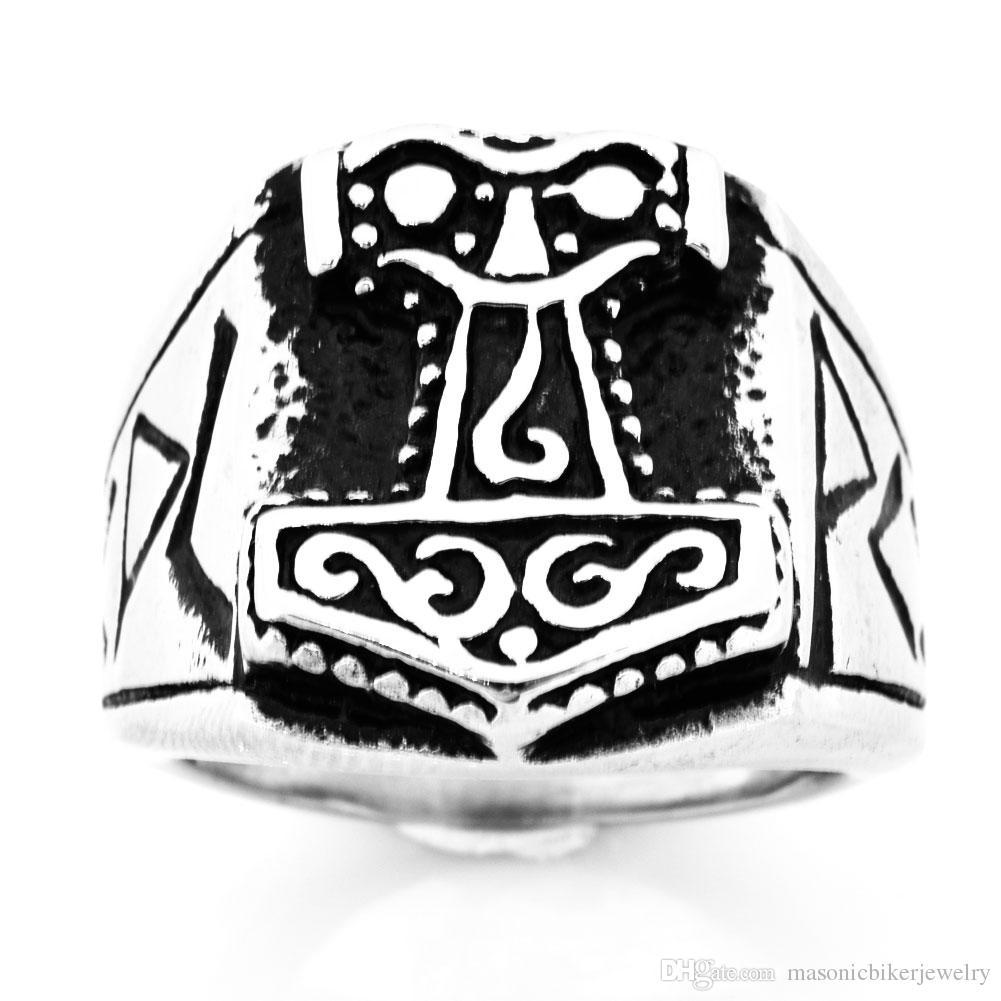 FANSSTEEL из нержавеющей стали старинные мужские или wemens ювелирные изделия кельтский Mjolnir Viking THORS молоток кольцо инструмент кольцо FSR09W58