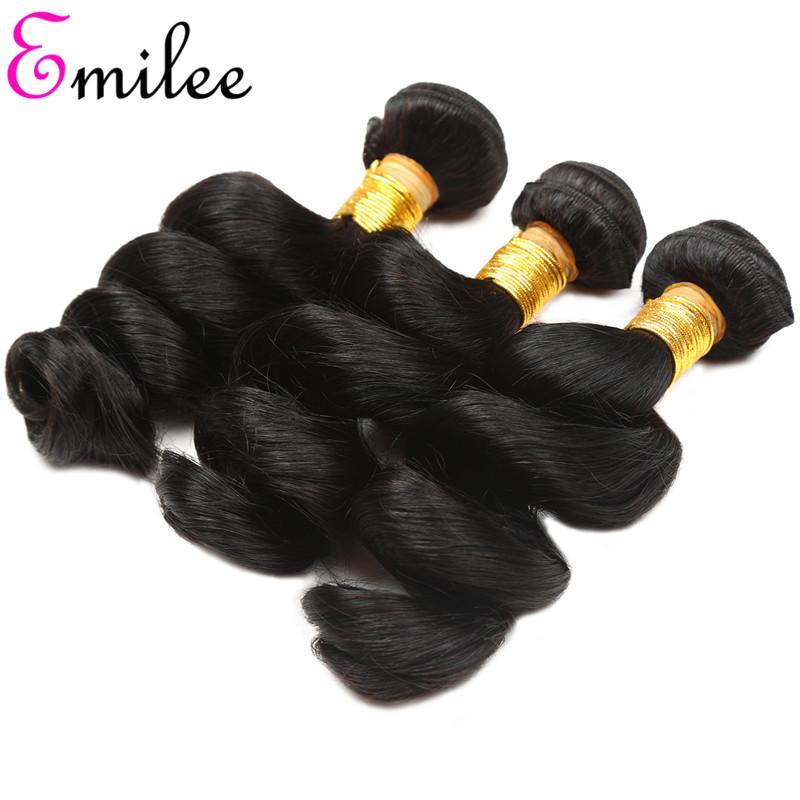 Emilee Loose Wave Weave Indian Virgin Human Hair Bundles Extensions Short Hair Bundles 8-28Inch Single Bundles