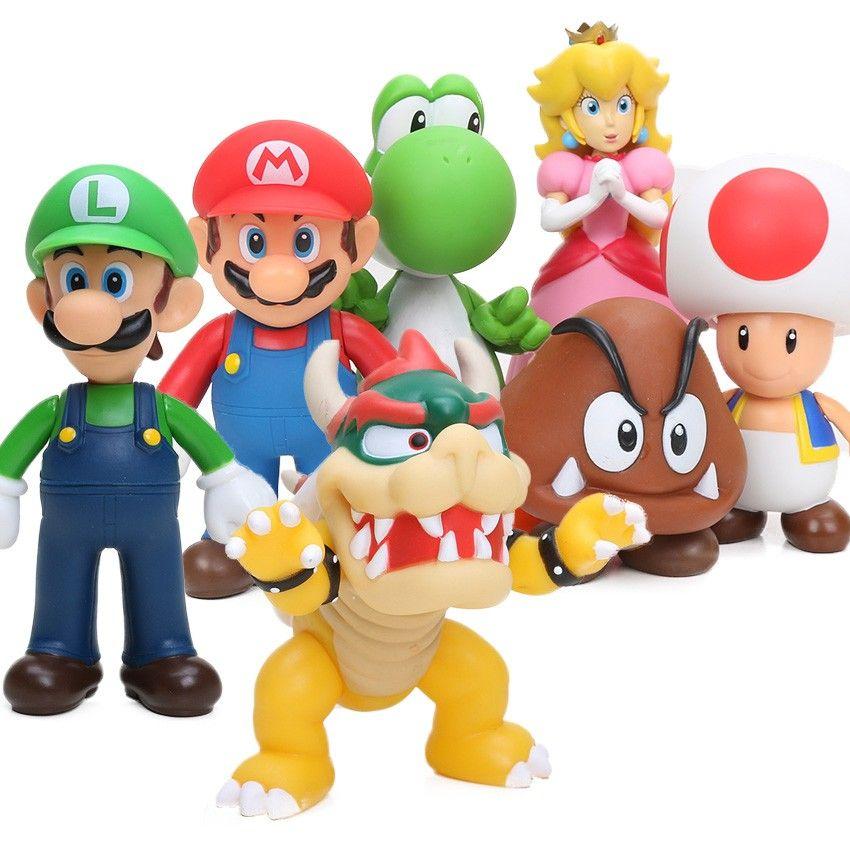 2019 Cheap 8 15cm Bros Bowser Super Mario Koopa Yoshi Mario Pvc Action Figures Luigi Donkey Kong Model Dolls Toys Ornament Decoration From