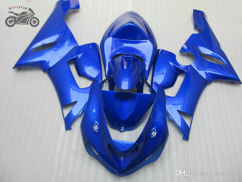 Kawasaki Ninja ZX6R 636 05 06 ZX6R 2005 2006 ZX 6R motosiklet ABS plastik mavi kaporta bodykit için ücretsiz Custom Çinli grenaj