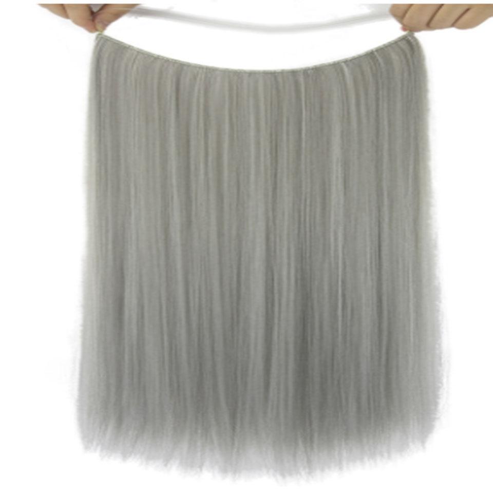 Chemical Fiber Fish Line Hair Curtain Wig Long Straight Hair No Trace Hair High Temperature Silk Cute Hairpin Fashion Color jooy