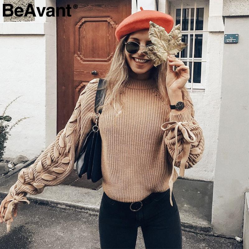 BeAvant Lace up le donne maglia maglione maglione collo O casuale autunno inverno maglione 2018 Breve pullover maglioni signore tirare T200102 femme