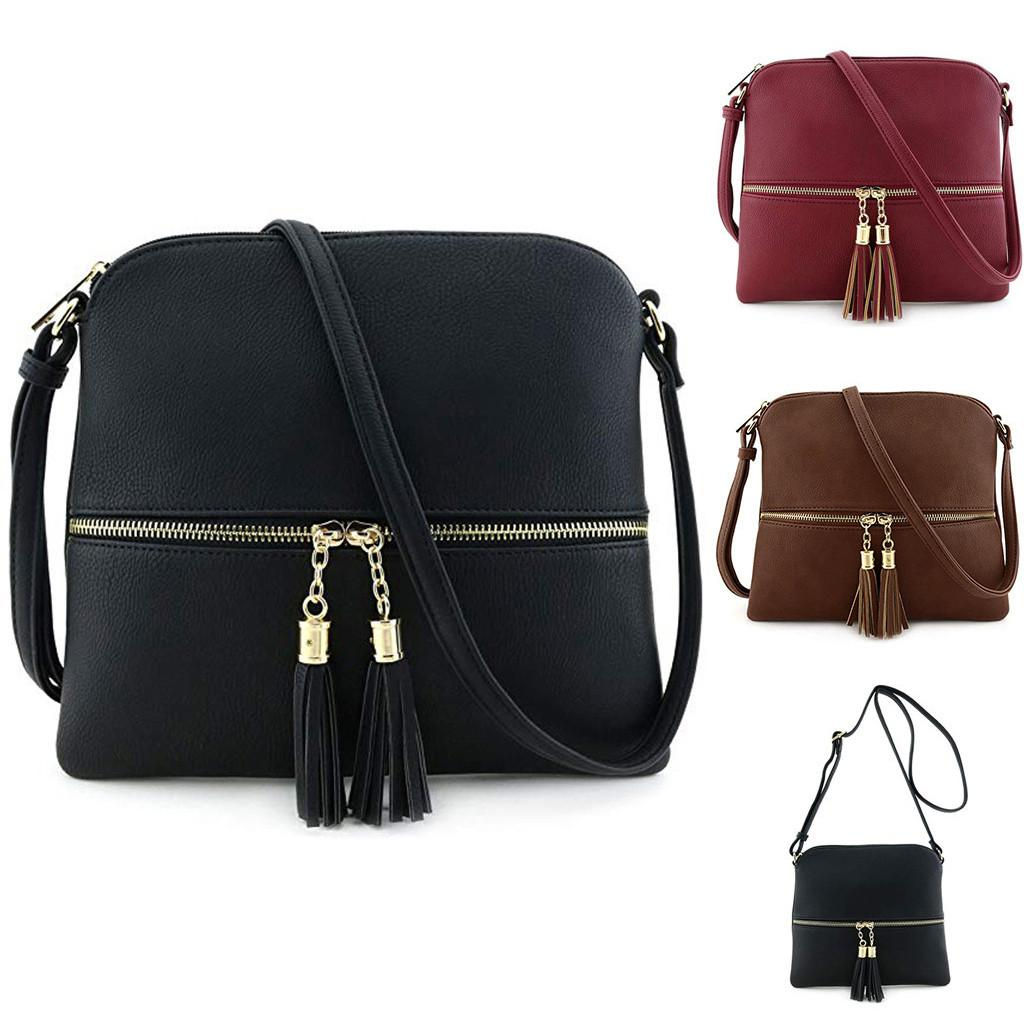 Leather Tassel Cross Body Women Pure Color Shoulder Messengers Bags High Quality