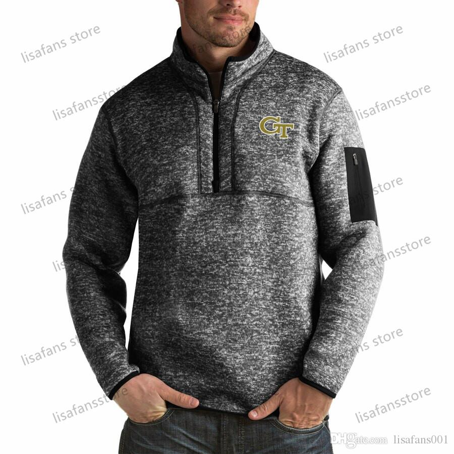 Джорджия Tech Желтая куртки пуловеры кофты большие высокие мужские четверть молнии пуловер Фортуны куртки сшитые американский футбол спортивные толстовки