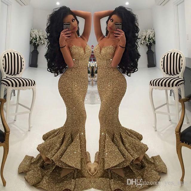 2019 novo designer de ouro lantejoulas vestidos de baile sereia cintas de espaguete sem encosto babados em camadas dividir varredura trem africano festa vestidos de noite