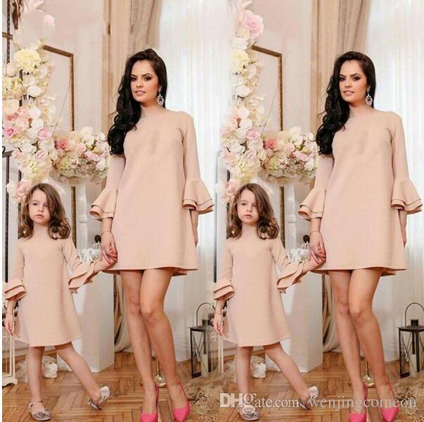 Mother Daughter Family Matching Fashion Long Sleeve Ruffles Solid Tutu Dress Evening Party Mini Dresses Women Baby Girls Clothes