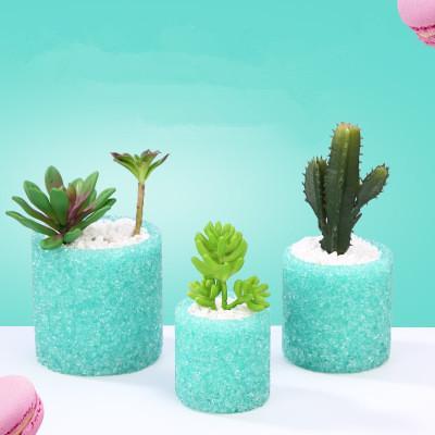 Flower Pot Flavored Flower Pot Cristal bonito Fleshy Flower Pot escritório preguiçoso infiltração de água respirável Luz Multi-color EEA619 Opcional
