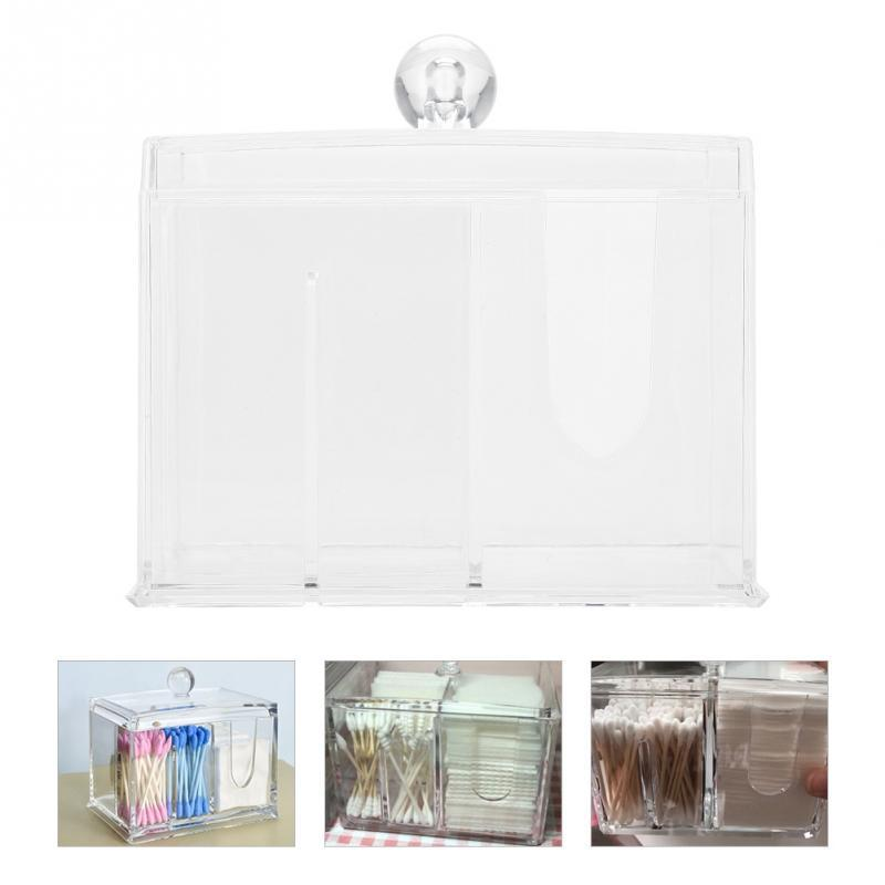 Transparent Plastic Cotton Swabs Holder Cotton Pads Storage Box Dustproof Organizer Container With Lid Holder Makeup Kit Tool