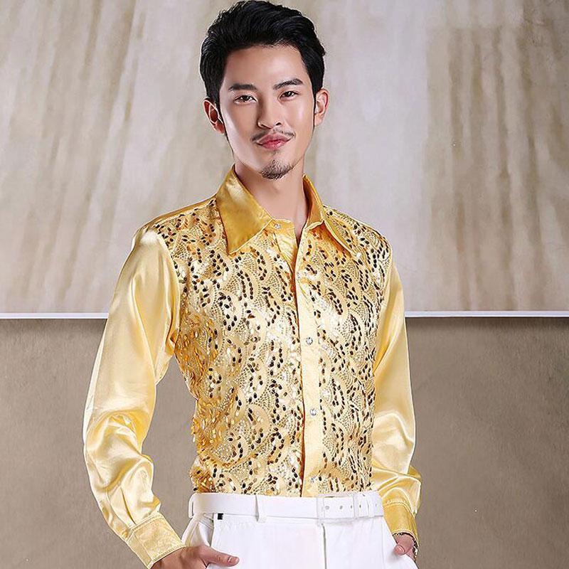 2019 Yeni Erkek Işıldayan payetli Gömlek Gömlek Sahne Performansı Giyim Dans Gala Hosted Koro Gömlekler Yüksek Kalite