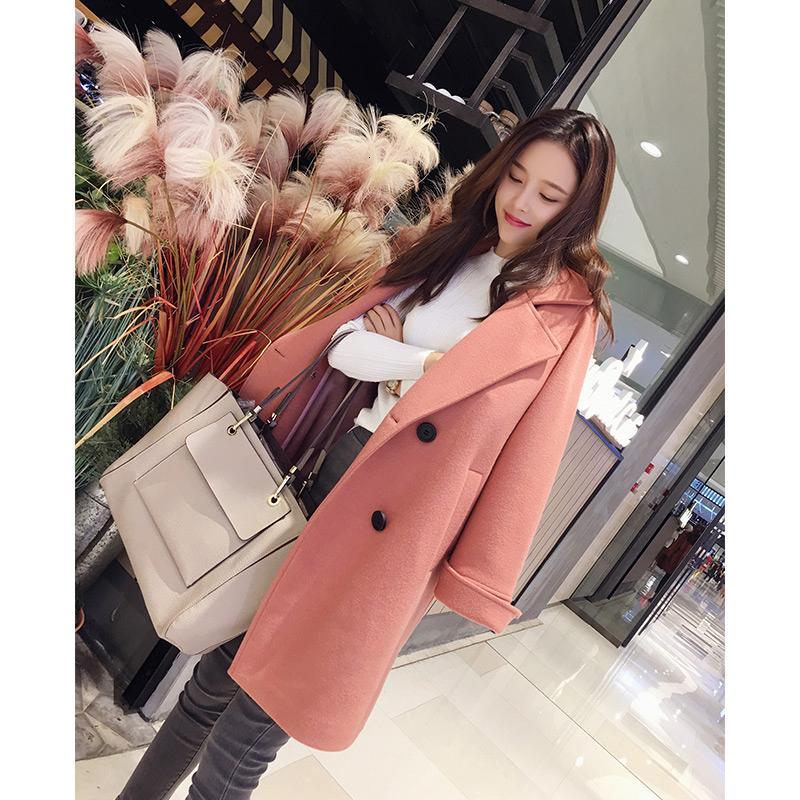 sobretudo do sexo feminino MiShow 2018 inverno nova coleção de outono solied Manga comprida roupas coreanas Misturas casaco de lã MX17C9632 T191026