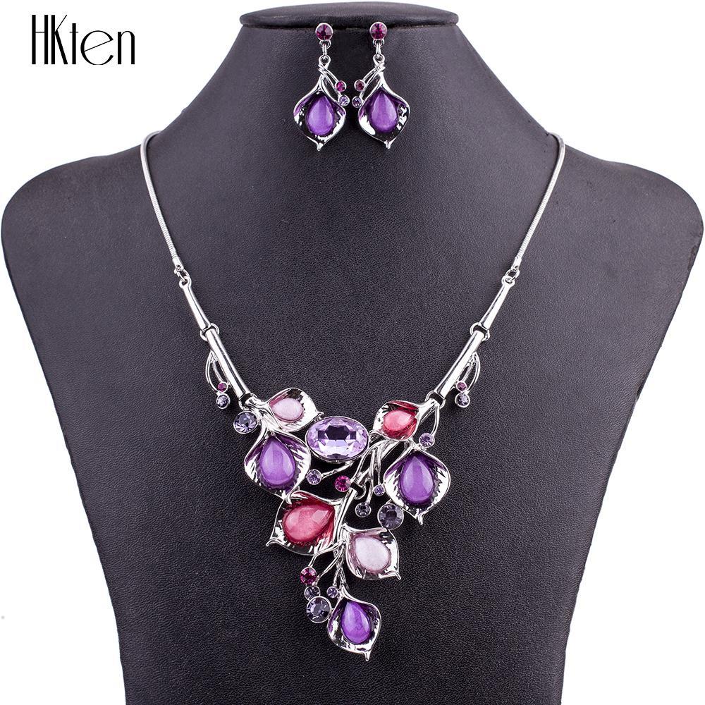 MS1504845 мода ювелирные наборы высокое качество ожерелье наборы для женщин фиолетовый красный синий ожерелья LeadNickle бесплатная партия подарки